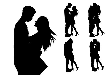 couple lit: silhouette of two lovers. Isolated on white background