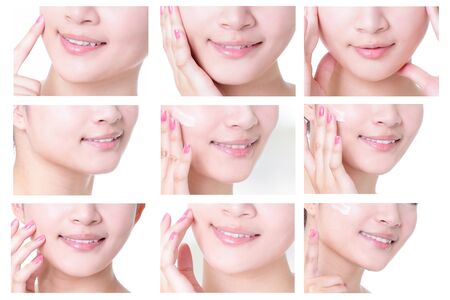 mouth close up: collection of young woman mouth close up with empty copy space isolated on white background, asian girl