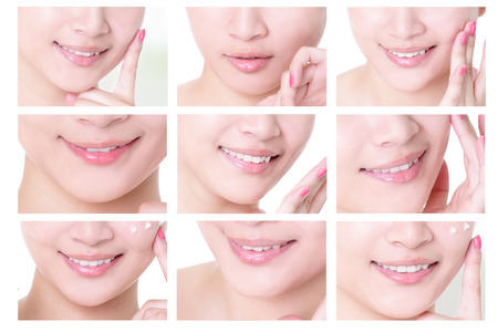 collection of young woman mouth close up with empty copy space isolated on white background, asian girl photo