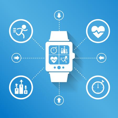 salud y deporte: Reloj dispositivo port�til elegante para el concepto de deporte de la Salud