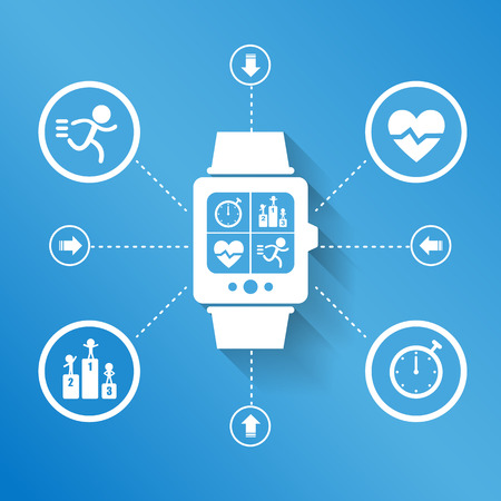 social care: Smart watch wearable device for Health sport concept
