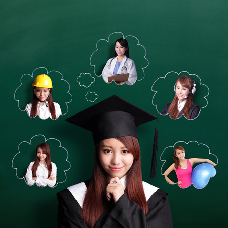 Smile student woman graduating and think her future and job Stockfoto