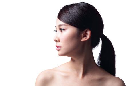 rostro mujer perfil: perfil de la mujer infeliz aislado en el fondo blanco Foto de archivo