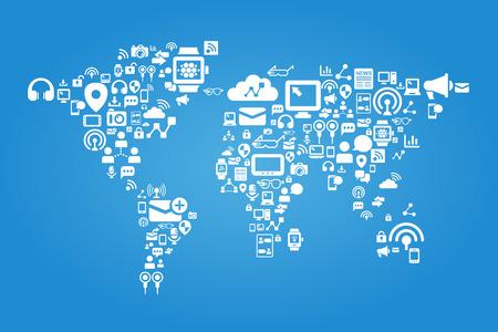 mapa mundi: Concepto de medios de comunicaci�n social - mapa del mundo con el icono de los medios sociales
