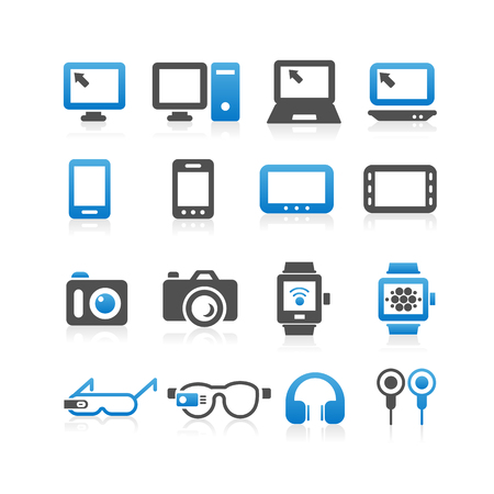 digital tablet: All kinds of Computer , smart phone, digital tablet, wearable devices icon set - Simplicity Series
