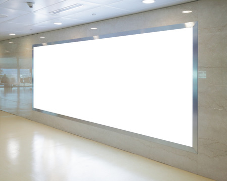 empty banner: Blank Billboard in airport Stock Photo