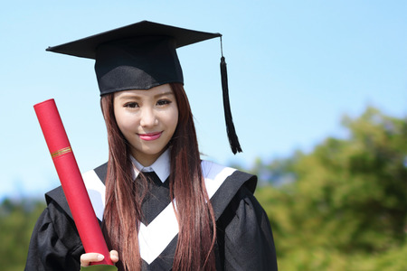 Smile student woman graduating in the campus, asian beauty Stok Fotoğraf