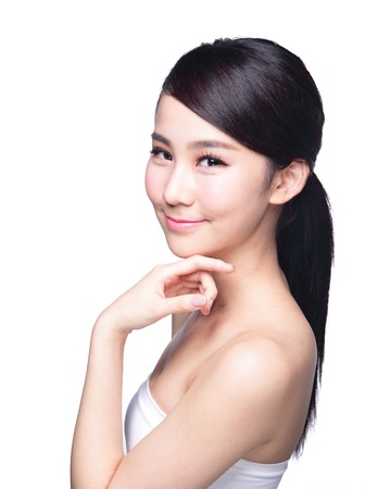 hand on shoulder: Beautiful Skin care woman smile isolated on white background. asian Beauty Stock Photo