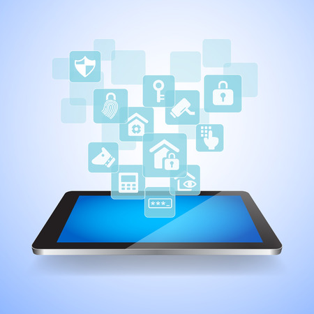 secret code: Home security by internet concept - Touch tablet pc with Home security icons Illustration