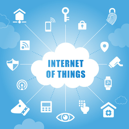 internet: Internet of things concept with Home security icons Illustration