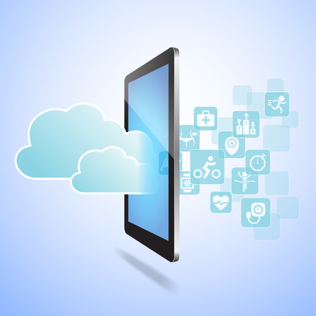 pc health: Health and Cloud Computing concept - Touch tablet pc with health icon and cloud computing