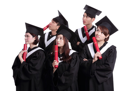 academic robe: group of graduates student think their future isolated on white background, asian