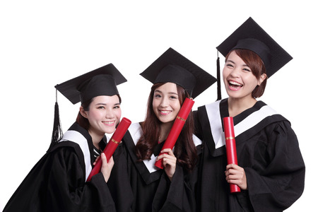 academic robe: group of happy graduates student woman isolated on white background, asian