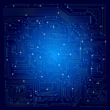 wallpaper blue: circuit board vector background Illustration