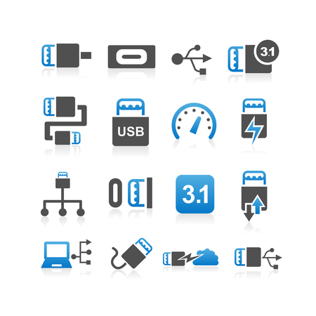 31: USB 3.1 type C icon set - Simplicity Series