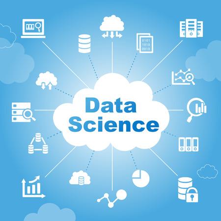 protected database: Concepto de ciencia de datos con iconos Vectores