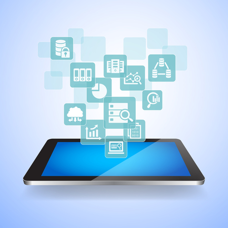digital tablet: Big Data Science Concept - Touch digital tablet pc with big data science icons
