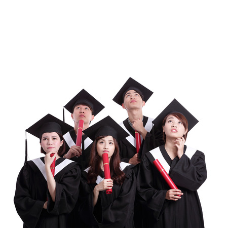 master degree: group of graduates student think their future isolated on white background, asian