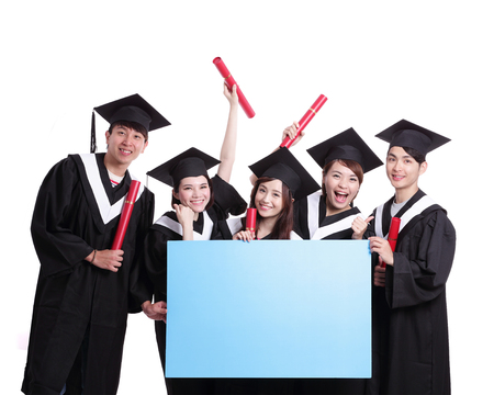 college graduation: group of happy graduates student show blank billboard isolated on white background, asian Stock Photo