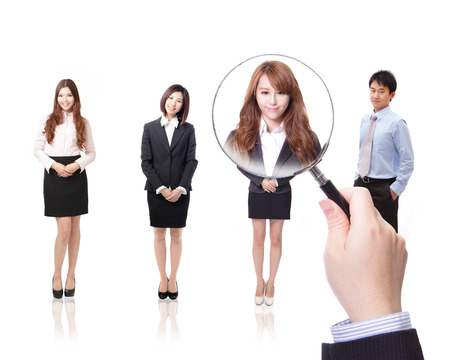 trabajo: Concepto de recursos humanos: la elección del candidato perfecto para el trabajo, el modelo son los asiáticos