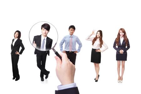 Human resources begrip kiezen van de perfecte kandidaat voor de baan model, Aziatische mensen