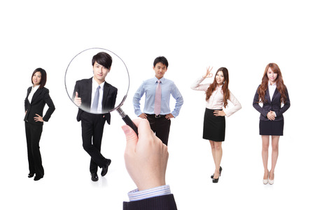 Human resources concept choosing the perfect candidate for the job model, asian people Banco de Imagens