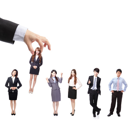 Human Resources concept: choosing the perfect candidate (business man) for the job, model are asian people photo
