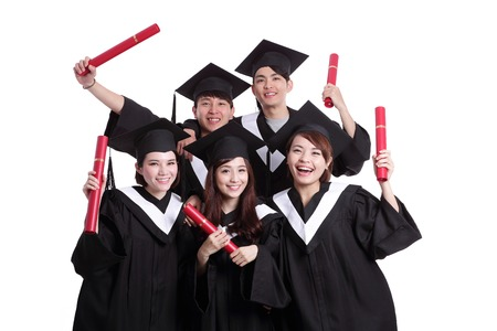 graduation cap and diploma: group of happy graduates student isolated on white background, asian Stock Photo