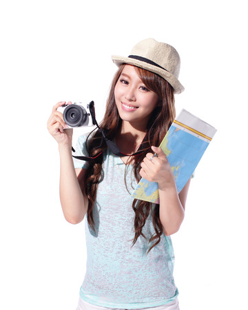 Happy woman tourist travel holding camera and map isolated on white background, asian