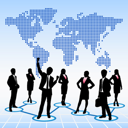 leader concept: Global human resources concept business people work team with world map background