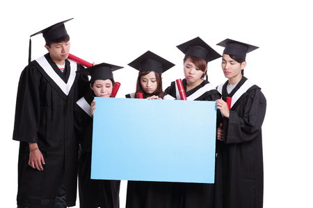 academic robe: group of graduates student think their future and show blank billboard isolated on white