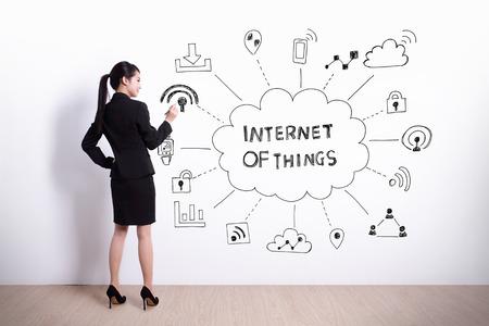 白い壁の背景、アジアに物事のインターネットを書くビジネス女性の背面図 写真素材