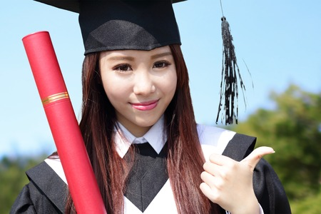 academic robe: Smile student woman graduating in the campus, asian beauty Stock Photo