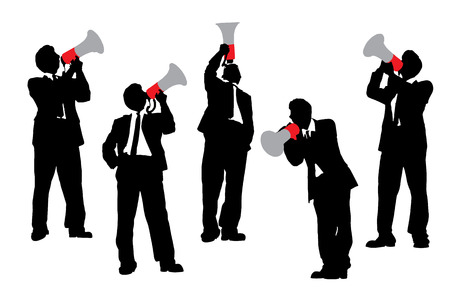 man full body: Silhouettes of Business men shouting by megaphone isolated on white background Stock Photo