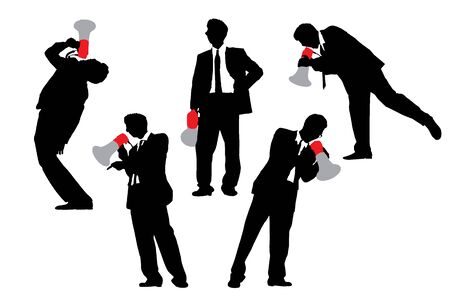 shouting: Silhouettes of Business men shouting by megaphone isolated on white background Stock Photo