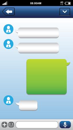 Smart phone chat bubbles with blank text. Sms messages. Speech bubbles. Short message service bubbles.