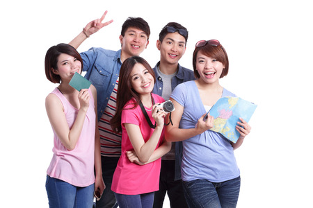 group travel: Happy group travel people hold camera, passport and map. Isolated on white background, asian