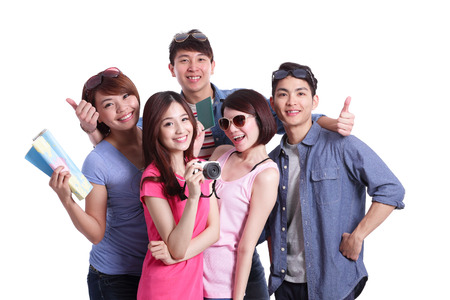 tours: Happy group travel people hold camera, passport and map. Isolated on white background, asian