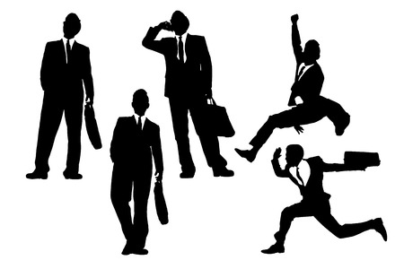 fullbody: Silhouettes of happy jump and running Businessmen with white background