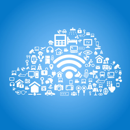 internet background: Internet of things and cloud computing concept - cloud outline by cloud computing and Internet of things concept icons