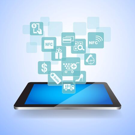 digital tablet: shopping on line concept - shopping icon with digital tablet pc Stock Photo
