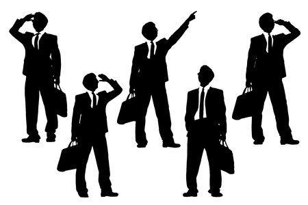 executive search: Silhouettes of successful business man purposefully looking away to empty copy space in full length isolated on white background