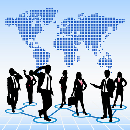 work worker workforce world: Global human resources concept business people work team with world map background