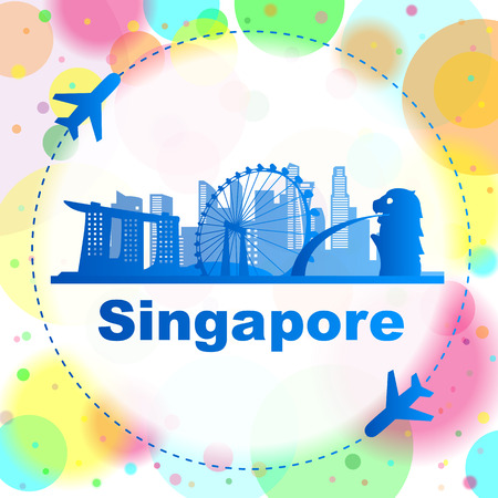 outline fish: Singapore skyline with airplane great for travel design Illustration