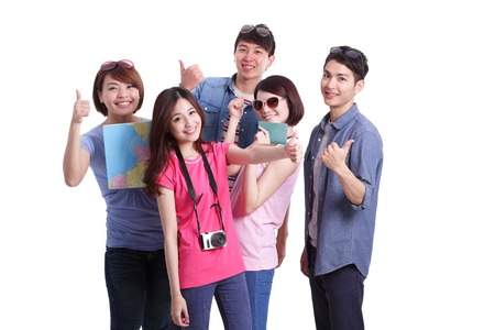 happy asian people: Happy group travel people hold camera, passport and map. Isolated on white background, asian