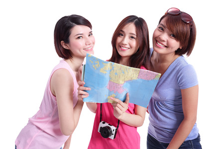 Happy group travel people hold camera passport and map. Isolated on white background asian photo