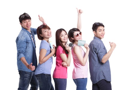 Happy group travel people hold camera, passport and map. Isolated on white background, asian photo