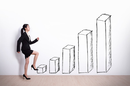 woman stairs: Growth concept - Business woman stepping up on stairs to gain her success with white wall background, asian