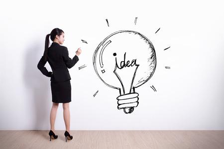 inspiracion: concepto de la idea - Opini�n posterior la mujer de negocios por escrito idea y la bombilla sobre fondo de pared blanca
