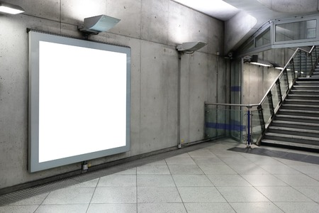 Blank billboard located in hall, London, United Kingdom, uk